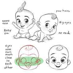 Learning drawing principles: April 2019 Baby Face Drawing, Baby Cartoon Drawing, Cartoon Sketches, Cartoon Art Styles, Drawing Sketches, Eye Drawings, Drawing Hair, Drawing Faces, Drawing Tips
