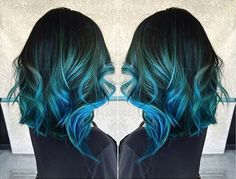 Teal Blue to Dark Blue Hair Color Idea