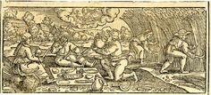 August; loosely copied after Sebald Beham; peasants taking a lunch break from harvesting grain; at upper centre a young woman representing Virgo; illustration to Michael Beuther, 'Calendarium Historicum', Frankfurt: David Zephelius, 1557.  1557 Woodcut