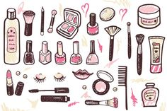 Hand drawn collection of make up and cosmetics illustration.