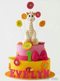 Vibrant flowers with a giraffe Giraffe Birthday Cakes, Giraffe Cakes, 1st Birthday Cakes, Happy Birthday, Fondant Cakes, Cupcake Cakes, Cupcakes, Candy Kids, Cupcake Queen