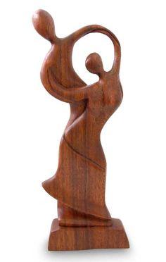 Wood sculpture, 'Dancing Couple'