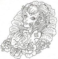 Adult coloring page Macabre tattoo