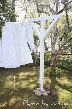I love to smell clothes that have been dryed on a line.  I really would love to have a clothes line with the classic white posts in my back yard!