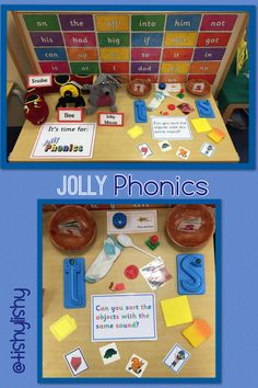 Jolly Phonic object sort Jolly Phonics Activities, Phonics Games, Kindergarten Literacy, Early Literacy, Activities For Kids, Literacy Centers, Preschool Phonics, Alphabet Phonics, English Activities