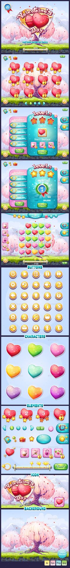 GUI Valentine's Day - User Interfaces #Game #Assets   Download http://graphicriver.net/item/gui-valentines-day/10088397?ref=sinzo