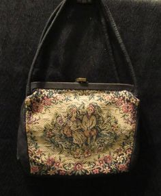 Small Vintage Tapestry Handbag Purse Chestnut  Lined Metal