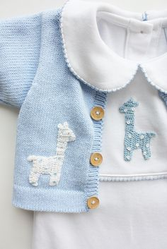 Let him cuddle up in this darling giraffe crochet playsuit! Made from Peruvian Pima Cotton and adorned with a beautiful hand-crocheted blue giraffe. *All N # classic childrens clothes Boy Giraffe Crochet Playsuit Pull Crochet, Hand Crochet, Crochet Baby, Free Crochet, Baby Knitting Patterns, Crochet Patterns, Baby Boy Outfits, Kids Outfits, Preppy Baby Boy