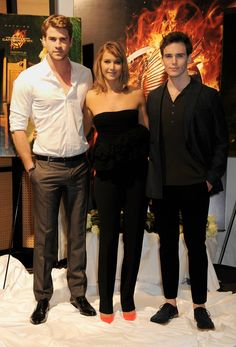 Jennifer Lawrence, Liam Hemsworth and Sam Claflin