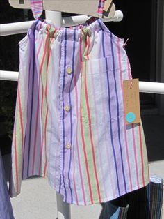Dress size 1-2 $22 Made from two men's shirts.  White, lavender, pink, lime. Daddy's Button Shirt Repurposed men's shirts, recycled men's shirts, striped toddler dress, girl's dress
