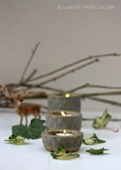 DIY Cement Candle Holders / Portavelas de cemento // elnidodemamagallina