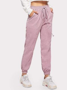 Solid Drawstring Waist Corduroy Pants Check out this Solid Drawstring Waist Corduroy Pants on Shein and explore more to meet your fashion needs! Teen Fashion Outfits, Stylish Outfits, Cool Outfits, Womens Fashion, Cute Sweatpants, Pantalon Long, Vetement Fashion, Cords Pants, Type Of Pants
