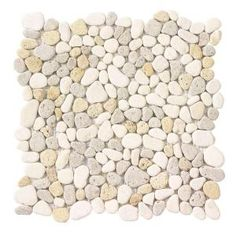 Jeffrey Court Creama River Rock Mosaic 12 in. x 12 in. Marble Floor and Wall Tile-99052 at The Home Depot