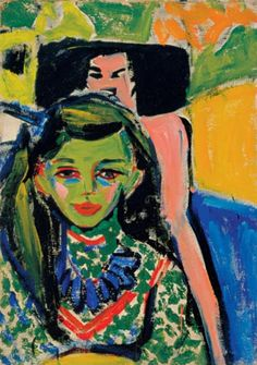 Painting by Ernst Ludwig Kirchner, 1910, Fränzi in front of a Carved Chair, Oil on canvas, Museo Thyssen-Bornemisza, Madrid.