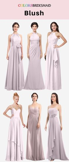 These bridesmaid dresses in blush color in halter and spaghetti styles will always let you on a budget.They can be custom made to all sizes and are sold under $100.