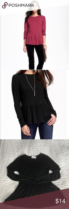 Relaxed fit peplum top New w/tag. Black peplum top. Loose fit. Very soft 100% rayon material. Comfortable style, can be dressed up or down.     Thin material great for warmer weather Tops Blouses