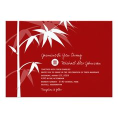 Oriental Chinese Asian Bamboo Tree Wedding Invite Personalized Announcements
