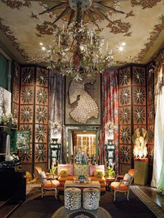 """The opulent living room at """"Dawnridge"""" estate built by iconic interior designer Tony Duquette and his wife Elizabeth in a Los Angeles canyon: sheer icon of the typical duquette's maximalist style - More wonders at www. Interior Styling, Interior Decorating, Interior Design, Beautiful Space, Beautiful Homes, My Living Room, Living Spaces, Floor Design, House Design"""
