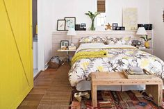 love this room. Great styling in a small space and use of yellow.