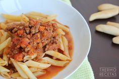 Originales macarrones con salsa tex mex, elaborada a base de verduras y carne picada, y aderezada con especias tex mex y un toque de tabasco.