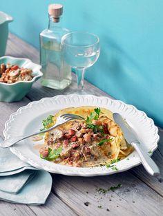 Pilz - Pfannkuchen mit Bacon und Sahne