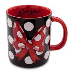 Minnie Mouse Bow Mug. Handsome red and black mug with white polka dots.