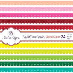 Digital Eyelet Ribbons Clipart, 24 Colors, 12x.75 inches, Instant Download, Commercial Use, Printable 300 dpi PNG files $3.99