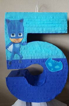 Number pinata inspired by Word Party Pj Masks Pinata, Festa Pj Masks, 10th Birthday Parties, 4th Birthday, Halloween Masks, Paw Patrol, Numbers, Projects To Try, Birthdays