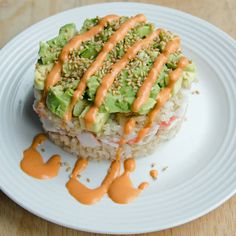 Crab and Avocado Sushi Stack - A Well Fed Life Sushi Stacks Recipe, Sushi Roll Recipes, Cooked Sushi Recipes, Healthy Snacks, Healthy Eating, Healthy Recipes, Sushi Rolls, Seafood Recipes, Dessert