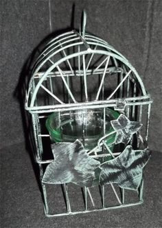 Metal Green Ivy Bird Cage Candle Holder  (This pic is from my own collection!)