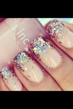 Nude Polish & Chunky Silver/Iridescent Glitter Tips