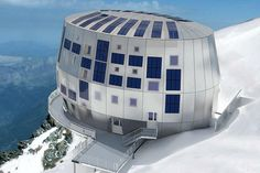The new Refuge du Goûter, Mont Blanc, France. Designed by Group-H a Swiss firm based in Geneva and headed up by Hervé Dessimoz. I stayed in the previous Gouter hut and climbed Mont Blanc on Bastille day - a very happy Alpine memory. High Building, Green Building, Location Ski, Alpine Lodge, Chamonix Mont Blanc, Stations De Ski, Eco Architecture, French Alps, Amazing Buildings