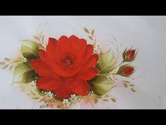 Pintura em Tecido. Aprenda pintar Rosa Vermelha, Botões, Folhas e Acabamento. - YouTube