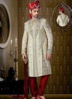 Wholesale Cream Wedding Wear Sherwani Collection   Buy Full catalog @ http://www.suratwholesaleshop.com/9505-Stylish-Brocade-Lemon-Dhoti-Sherwani?view=catalog  #suratwholesaler #onliensupplier #sherwanisupplier #wholesaler #ethnicsherwani #groomsherwani #weddingsuits