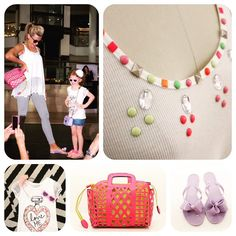 Tank with lace & neon studded detail, beach basket tote, Lounge flip flops in lavender, Girl's Love Me tee, heart sunnies and flower headband. #designU #ShoptheAvenues #jacksonville #fashion #style