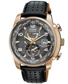Citizen Men's Eco-Drive World Time A-T Black Leather Strap Watch 43mm AT9013-03H - Watches - Jewelry & Watches - Macy's