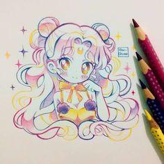 """13.1k Likes, 64 Comments - Ibu (@ibu_chuan) on Instagram: """"Luna humana de la película de sailor moon Usé lápices faber castell eco colour grip. Me…"""""""