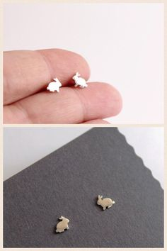 Rabbit Studs Sterling Silver Handmade by SweetNovemberJewelry