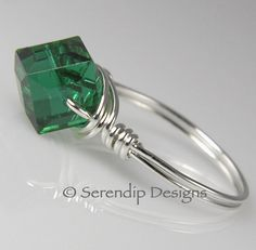 May Birthstone Ring Argentium Sterling by SerendipDesignsJewel on Etsy $24