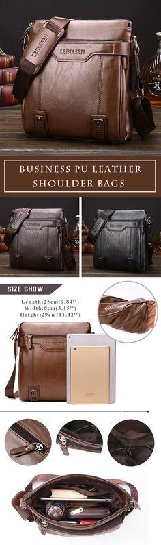 80e65cd251 Men Business Vintage Multi-pocket Comfortable PU Leather Shoulder Bags  Crossbody Bags is hot-sale