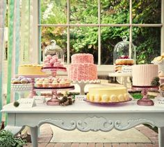 Garden cake buffet pastel colors