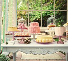 dessert tables, dessert buffet, cake stands, vintage cakes, shower