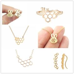 QIMING Gold Silver ADORABLE BUMBLE BEE INSECT SHAPED STUD EARRINGS ANIMAL  JEWELRY For Women Girl Gift f5096e8a67be