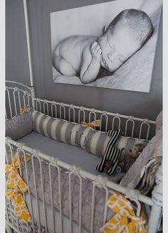 Yellow,Gray&White Strips And Polkadot Nursery Room