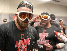 Cleveland Indians Cody Allen and Jason Kipnis, in the Indians locker room after the Indians beat the Detroit Tigers  7-4 at Comerica Park in Detroit, Michigan on September 26, 2016.  (Chuck Crow/The Plain Dealer)