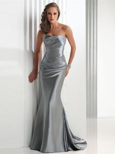 Trumpet/Mermaid Strapless Sweep/Brush Train Elastic Woven Satin Dress