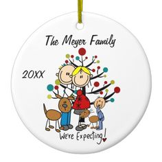 Shop Expectant Couple with Boy, Dog, Cat Ornament created by christmasshop. Penguin Ornaments, Snowman Ornaments, Holiday Ornaments, Christmas Holiday, First Christmas Together Ornament, Babies First Christmas, Boy Dog, Girl And Dog, Wedding Ornament