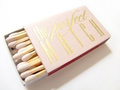 The Perfect Match Foil Stamped Matchbox - Pretty Bridal Shower Favors  - Photos