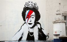 Banksy draws the Queen as David Bowie to honour the Diamond Jubilee