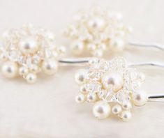 Wedding Whimsical Pearl and Crystal Hair Pin Set